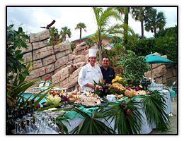 A buffet by the pool at a Cape Canaveral Hotel