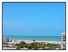 The Atlantic Ocean as seen from a Cocoa Beach Hotel.